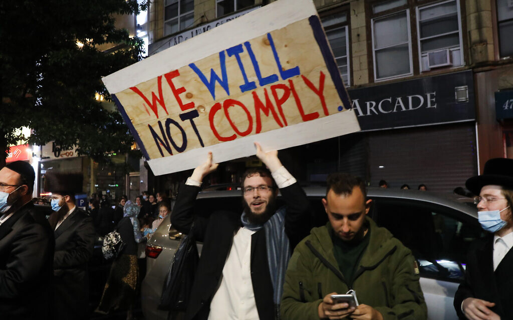 Protesters gather in the Brooklyn neighborhood of Borough Park to denounce lockdowns of their neighborhood due to a spike in Covid-19 cases, Oct. 7, 2020. (Photo by Spencer Platt/Getty Images)