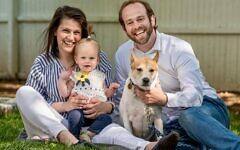 Rebecca Ruberg, shown with her husband Rabbi Jeremy Ruberg and their daughter Aliza, will share her infertility journey on a new storytelling app. (Courtesy)