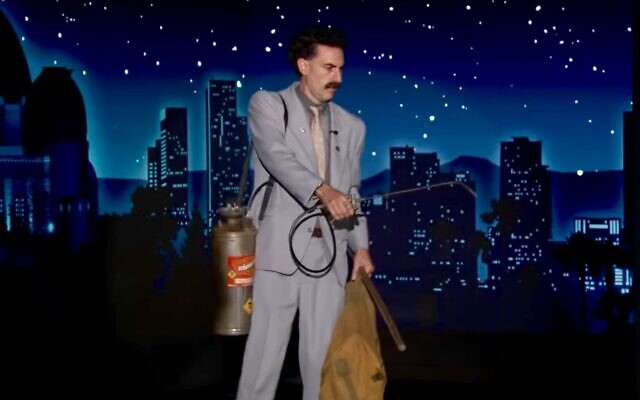 "Sacha Baron Cohen appears in character as Borat Sagdiyev on ""Jimmy Kimmel Live,"" Oct. 19, 2020. (Screen shot from YouTube)"