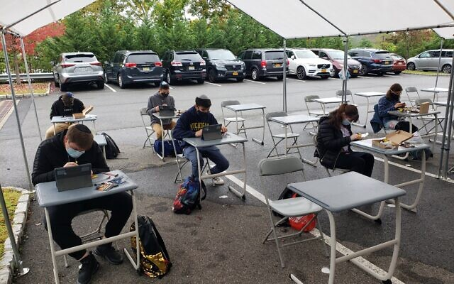 Outdoor classrooms are among the options for learning during the pandemic at SAR High School in Riverdale, NY. (Facebook)