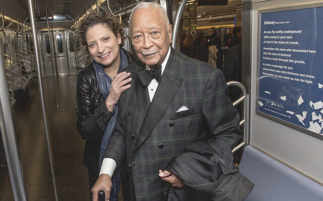 "Former Mayor David N. Dinkins, seen with Veronique ""Ronnie"" Hakim, president of MTA New York City Transit, takes part in the inaugural ride of the Second Avenue Subway, Dec. 31, 2016. (Metropolitan Transportation Authority / Patrick Cashin)"