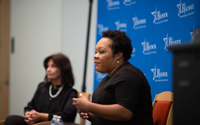 "Yamiche Alcindor of ""PBS NewsHour"" at the LBJ School of Public Affairs,  Austin, Tex., April 10, 2019. (LBJ School)"