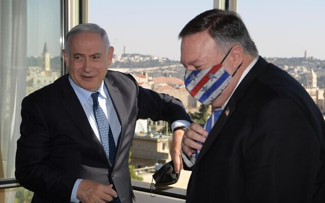 Prime Minister Benjamin Netanyahu meets with US Secretary of State Mike Pompeo in Jerusalem, Nov. 19, 2020.  (Amos Ben Gershom, GPO)