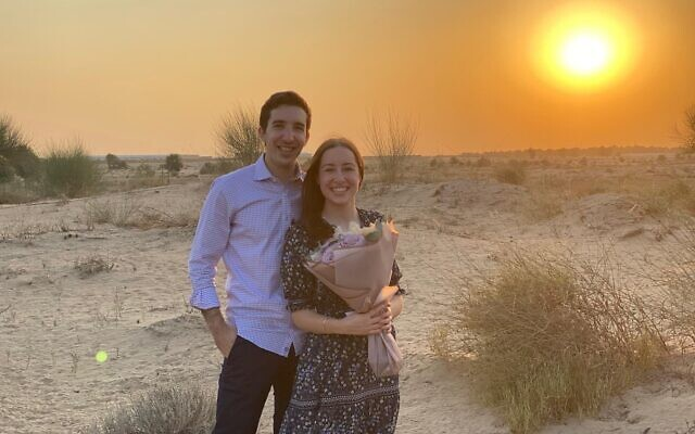 DESERT ROMANCE: Anna Greenblatt, the daughter of former White House Middle East envoy Jason Greenblatt, was engaged to Eric Wietschner of Woodmere, Long Island while on a visit to Dubai with her father. Jason Greenblatt, an Orthodox Jew from Teaneck, NJ who was Donald Trump's lawyer before serving in the administration, posted the announcement to Twitter on Thursday morning. (Twitter)