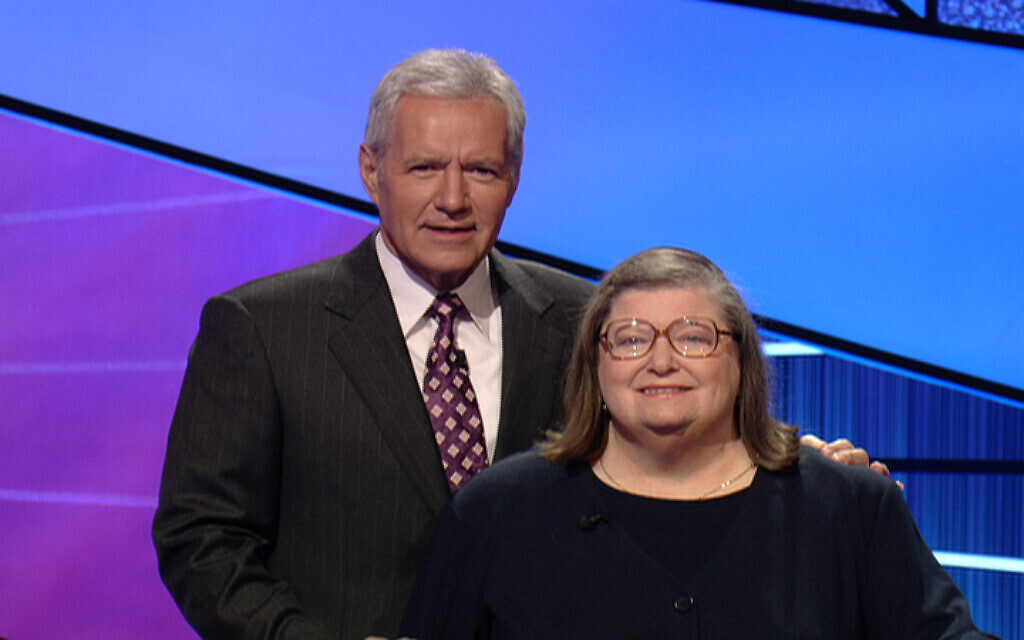 "Rabbi Joyce Newmark, left, and Alex Trebek on the set of ""Jeopardy!"" Newmark competed on two episodes that aired in May of 2011. (Courtesy)"