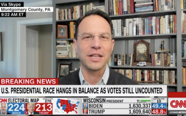 Pennsylvania Attorney General Josh Shapiro appears on CNN on November 4, 2020 to discuss vote counting in Pennsylvania. (Screenshot)
