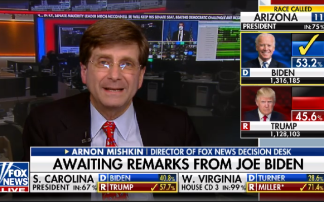 Arnon Mishkin on Fox News on election night 2020, when he called Arizona for Joe Biden, reportedly angering President Trump. (Screen shot from YouTube)