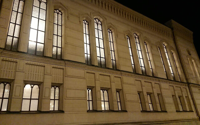 All the lights are on at the Great Synagogue of Stockholm, Sweden as part of a campaign commemorating the 82th anniversary of the Nazi Kristallnacht pogroms, Nov. 9, 2020. (Ute Steyer)