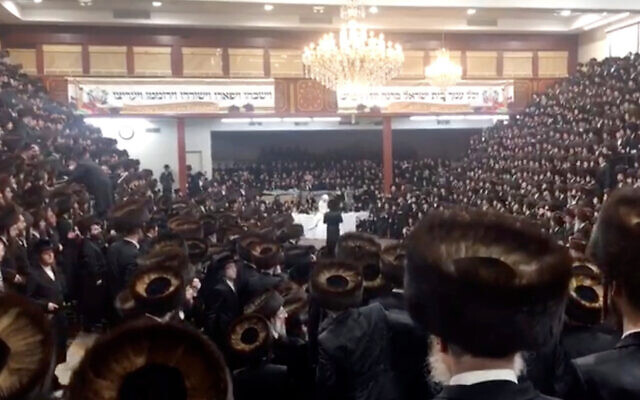 The New York Post obtained a video of what it said was a massive wedding held Nov. 8 at the Yetev Lev synagogue in Williamsburg for a chief Satmar rabbi's grandson. (Courtesy)