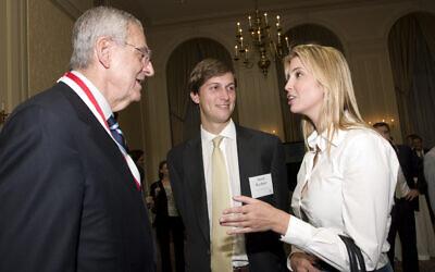 Howard Rubenstein, left, chats with Jared Kushner and Ivanka Trump at a gala for St. John's University on June 16, 2009. (Martyna Borkowski)