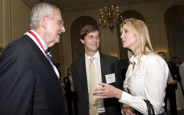 Howard Rubenstein, left, chats with Jared Kushner and Ivanka Trump at a gala for St. John's University on June 16, 2009. (Martyna Borkowski)
