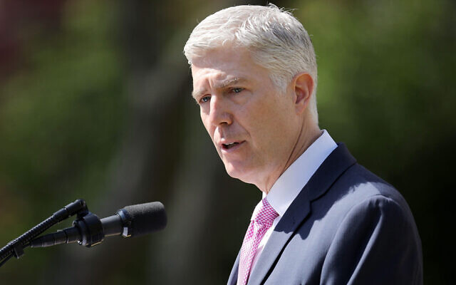 Supreme Court Justice Neil Gorsuch delivers remarks after taking the judicial oath during a ceremony in the Rose Garden at the White House, April 10, 2017. (Chip Somodevilla/Getty Images)