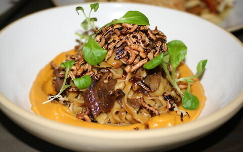 The Duck Fettuccine at MEAT, a Brooklyn restaurant that is hoping kosher diners still want a little luxury despite the pandemic. (Courtesy Sam Reinstein)