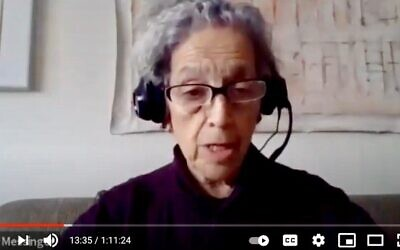 Former Manhattan Borough President Ruth Messinger appears on a panel about New York's Jewish vote arranged by the New York Jewish Agenda, Dec. 18, 2020. (YouTube)