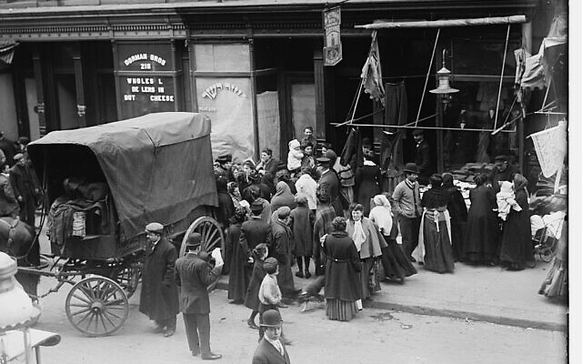 "A crowd gathers in front of a kosher butcher shop during a meat riot in New York's Lower East Side, from ""The Great Kosher Meat Wars of 1902."" (undated). (Library of Congress Prints and Photographs Division)"