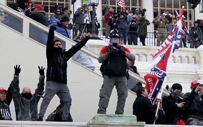 Protesters gather on the U.S. Capitol Building in Washington, D.C. Jan 6, 2021. Pro-Trump protesters forced their way into the Capitol building after mass demonstrations. (Tasos Katopodis/Getty Images)