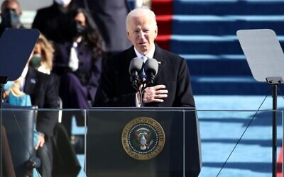 President Joe Biden delivers his inaugural address on the West Front of the U.S. Capitol in Washington, DC on January 20, 2021. (Rob Carr/Getty Images)
