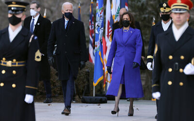 President Joe Biden and Vice President Kamala Harris at a wreath-laying ceremony at Arlington National Cemetery's Tomb of the Unknown Soldier just after the 59th Presidential Inauguration ceremony, Jan. 20, 2021. (Chip Somodevilla/Getty Images)