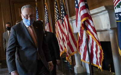 Sen. Chuck Schumer at a news briefing with new Democratic senators at the U.S. Capitol, Jan. 21, 2021. (Drew Angerer/Getty Images)