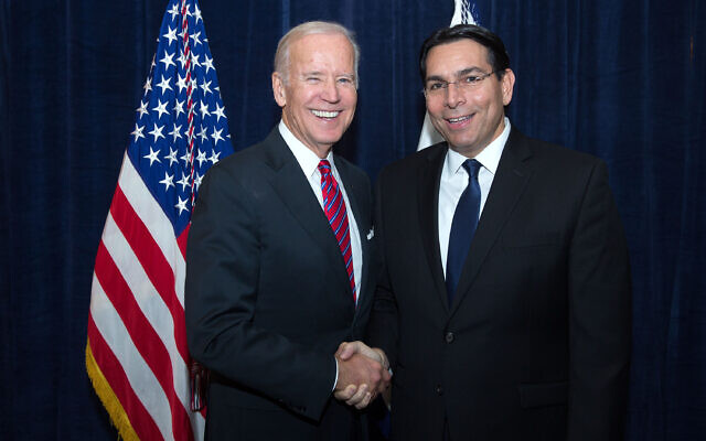 Then Vice President Joe Biden and Israel's U.N.ambassador at the time, Danny Danon, meet at a World Jewish Congress event at the Pierre Hotel in New York, Nov. 9, 2016. (Official White House Photo by David Lienemann)