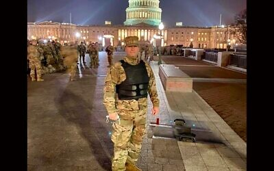 Rabbi Jordan Hersh has been deployed as part of the Maryland Army National Guard to the U.S. Capitol since a mob of Trump supporters stormed it on Jan. 6, 2021. (Courtesy of Hersh)