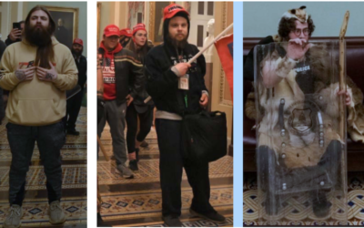 Aaron Mostofsky, far right, the son of a New York judge, was one of the rioters who entered the Capitol on Jan. 6, 2021. (Screenshot from D.C. Police)