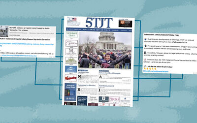 Following the riot at the U.S. Capitol by a pro-Trump mob, a Long Island Jewish newspaper featured on its cover a photo of a columnist appearing to celebrate her participation in the day's events.(Illustration by Grace Yegel)