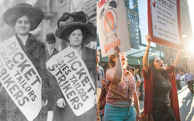 "Left: Women strikers on picket line during the ""Uprising of the 20,000"" garment workers strike, New York City, Feb. 1910 (George Grantham Bain Collection/Library of Congress). Right: Marchers demand Wendy's support efforts to end human rights abuses in U.S. agriculture, July 2018. (Coalition of Immokalee Workers)"