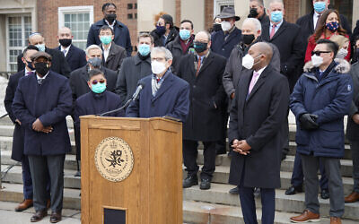 Michael Miller, executive vice president and CEO of the Jewish Community Relations Council-New York, speaks at a Queens Borough Hall news conference denouncing hate directed at Asian-Americans and Jews, Feb. 22, 2020. (Queens Borough President Donovan Richards)