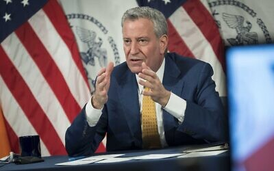 New York City Mayor Bill de Blasio speaks to reporters at a Feb. 10, 2021 news conference, where he pledged an effort to get Holocaust survivors vaccinated. (Ed Reed/Mayoral Photography Office)