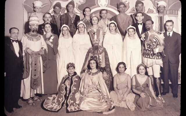 The cast of a Purim play staged by the Sephardic Jewish Community in New York in 1936. (Center for Jewish History via Wikimedia Commons)