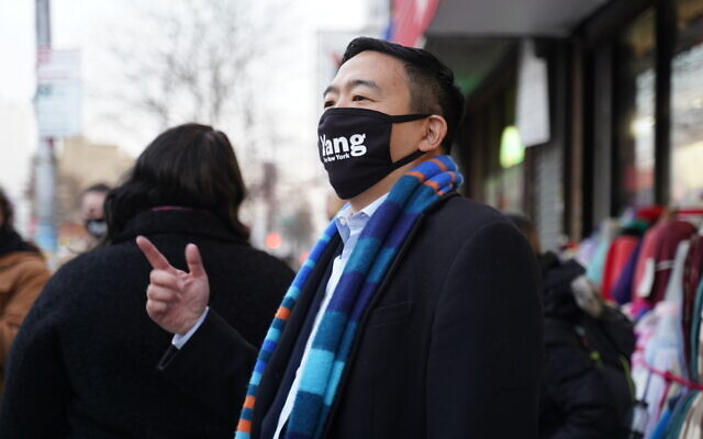 "NYC mayoral candidate Andrew Yang, asked about improving secular education at yeshivas, said ""we shouldn't interfere with their religious and parental choice as long as the outcomes are good."" (Yang for New York)"