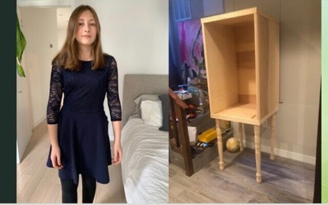 Talya Landesberg, left, and the (unfinished) ark her father and brother are building for her upcoming Zoom bat mitzvah. (Courtesy Joan Lefkowitz)