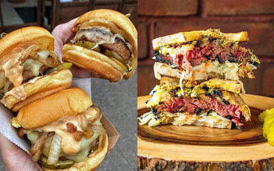 Beyond Burgers from Diller NYC in lower Manhattan and, right, a sandwich from Izzy's Brooklyn Smokehouse. (Dani Klein)