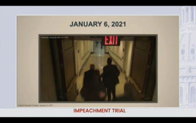 Security video shown during the second impeachment trial of Donald Trump shows Senate Majority Leader Chuck Schumer running from rioters at the Capitol building on January 6. (CSPAN)