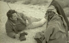 Clinton Bailey interviewing a Bedouin elder, 1972. The Clinton Bailey Archive of Bedouin Culture is now coming to the National Library of Israel. (Boris Carmi. From the Meitar Collection, National Library of Israel archives)