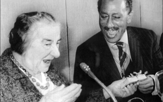 "Golda Meir shares a laugh with Egyptian leader Anwar Sadat in ""Golda,"" a documentary being shown as part of the Israeli Leaders on Film virtual series from the Marlene Meyerson JCC Manhattan. (JCC Manhattan)"