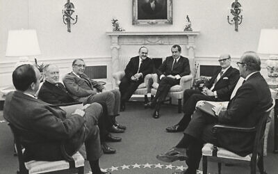 Rabbi Herschel Schacter, center left, meets with  President Richard Nixon in the Oval Office on Dec. 30, 1970 to discuss the treatment of Jews in the Soviet Union. At far left is John Ehrlichman, White House counsel. Third from left is Max Fisher, a major Republican donor and adviser to Nixon on Jewish affairs. (White House Photo)