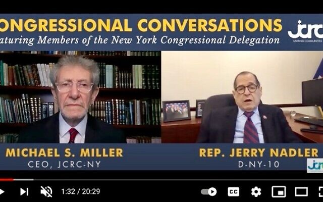 LIVE FROM NEW YORK: Rep. Jerry Nadler (D-NY) speaks with Michael Miller, CEO of the Jewish Community Relations Council-New York as part of the JCRC's ongoing Congressional Conversations series.