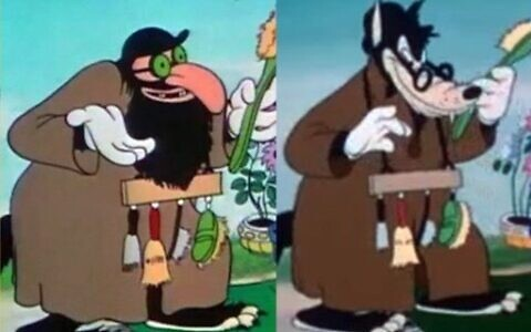 "The Big Bad Wolf disguised as a Jewish peddler in the 1933 Disney cartoon ""The Three Little Pigs"" and redrawn for the 1948 re-release, right. (From English with an Accent: Language, Ideology and Discrimination in the United States. Francis and Taylor, 2nd edition 2012.)"