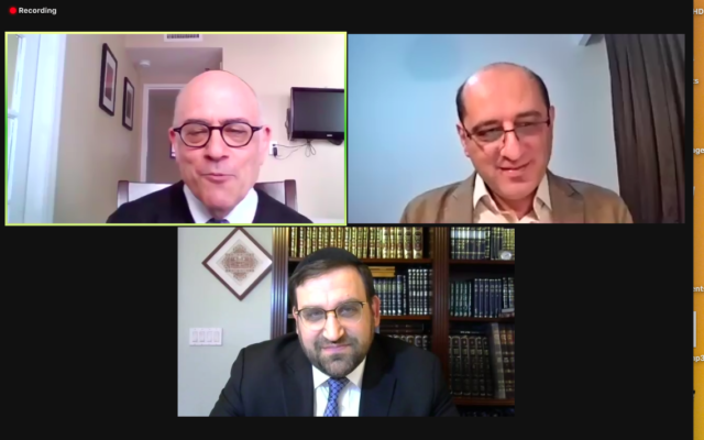 Arash Abaie, a leader of the Tehran Jewish community (top right), was interviewed live via Zoom on Sunday by Rabbi Jacob J. Schacter, a professor of Jewish history at Yeshiva University (top left). Rabbi Yaakov Glasser, dean of YU's Center for the Jewish Future, which sponsored the program, is below.  (Screenshot: Judy Rosenblatt)