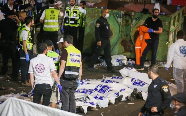 Israeli rescue forces and police at the scene where 45 people were killed in a stampede during celebrations of Lag B'Omer at Mt. Meron, April 30, 2021. (David Cohen/Flash90)