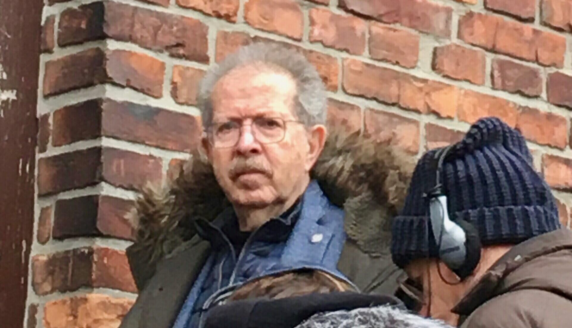 Menachem Rosensaft tours Block 11 at Auschwitz-Birkenau, where prisoners like his father underwent punishment, Jan. 28, 2020. (Jewish Week)
