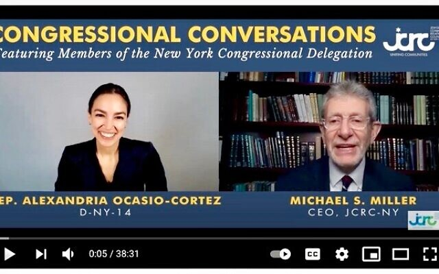 Rep. Alexandria Ocasio-Cortez is interviewed by Michael Miller, head of the Jewish Community Relations Council of New York, Thursday, April 1, 2021. (YouTube)