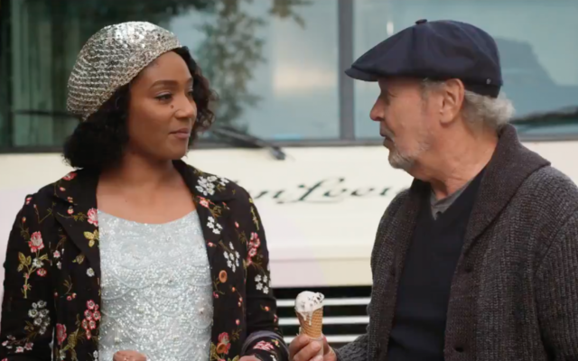 "BEST BUDS: Comedian Billy Crystal and actress Tiffany Haddish star in a buddy comedy, ""Here Today,"" due out May 7. Set in New York City, it includes a shot of Crystal and Haddish taking part in a massive hora. (Sony Pictures)"