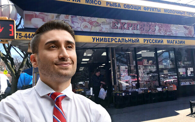 City Council candidate David Aronov wants to be the first Bukharian-American to hold office in New York. Background: A Bukharian supermarket in Rego Park. (davidforqueens.com; Lauren Hakimi. Jewish Week montage by Janice Hwang)