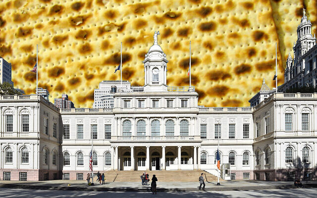 (Jewish Week collage by Janice Hwang; New York City Hall photo from Wikipedia; matzah from Flickr Commons)