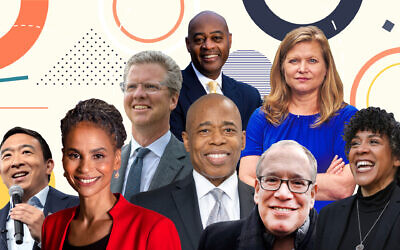 Eight candidates are vying for the Democratic nomination for NYC mayor in June; from left, front row, Andrew Yang, Maya Wiley, Eric Adams, Scott Stringer and Dianne Morales. Second row: Shaun Donovan, Ray McGuire and Kathryn Garcia. (Design by Grace Yagel)
