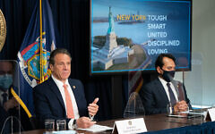 Gov. Andrew Cuomo and Connecticut Gov. Ned Lamont announce significant easing of COVID-19 pandemic restrictions on businesses, venues and houses of worship, May 3, 2021. (Flickr)