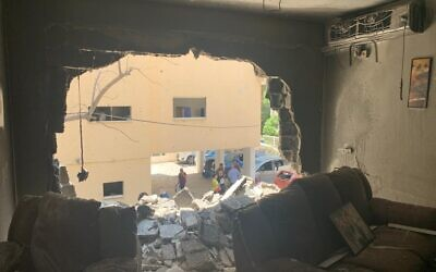 Damage from a Hamas missile in Petach Tikva, Israel, May 13, 2021. (Israel Ministry of Foreign Affairs)